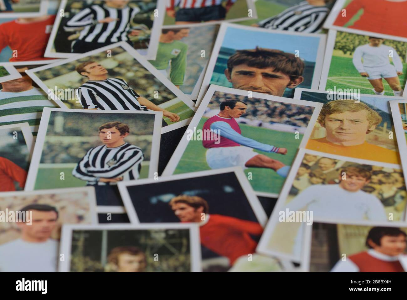 A selection of The wonderful world of soccer stars in action football player cards from FKS Publishers. UK.1970s Stock Photo