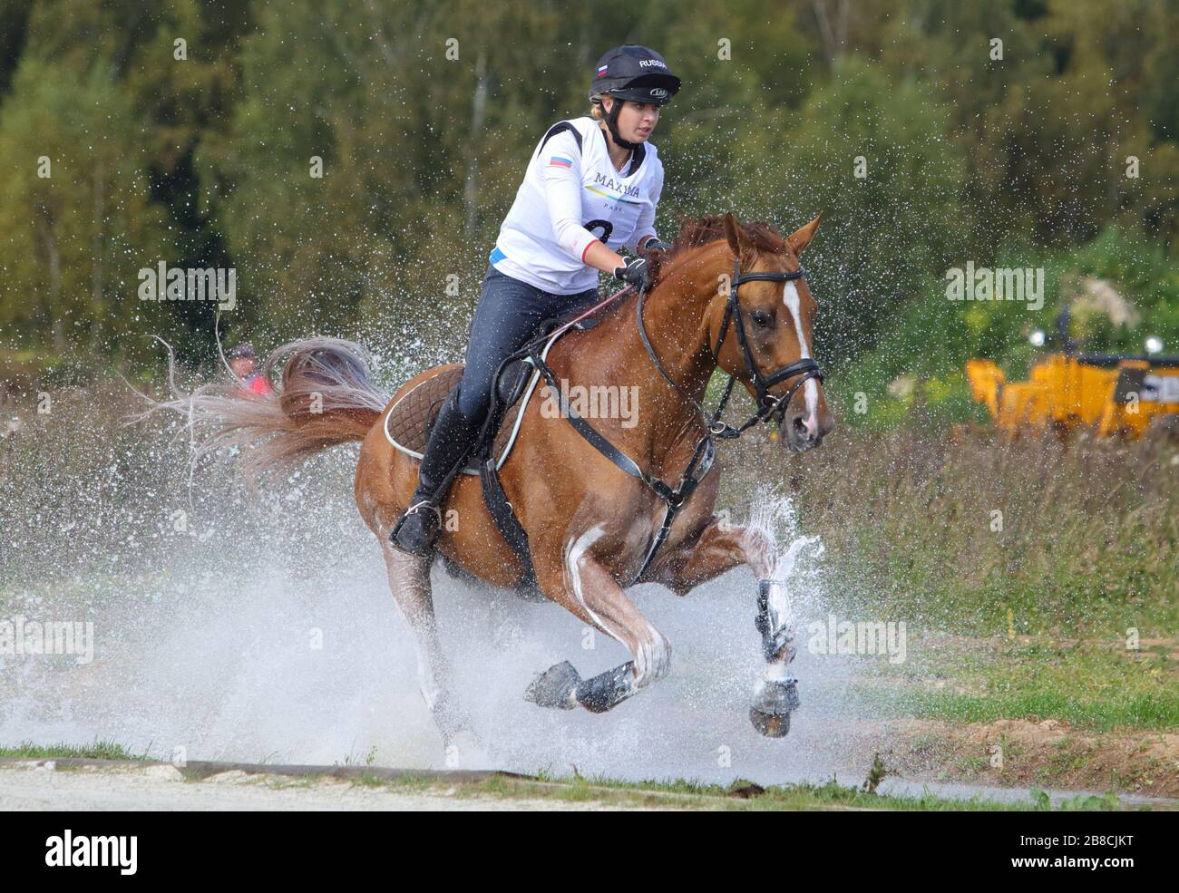 A Young Rider Canters Her Spirited Chestnut Horse Through A Cross Country Water Jump At An Equestrian Eventing Show Stock Photo Alamy