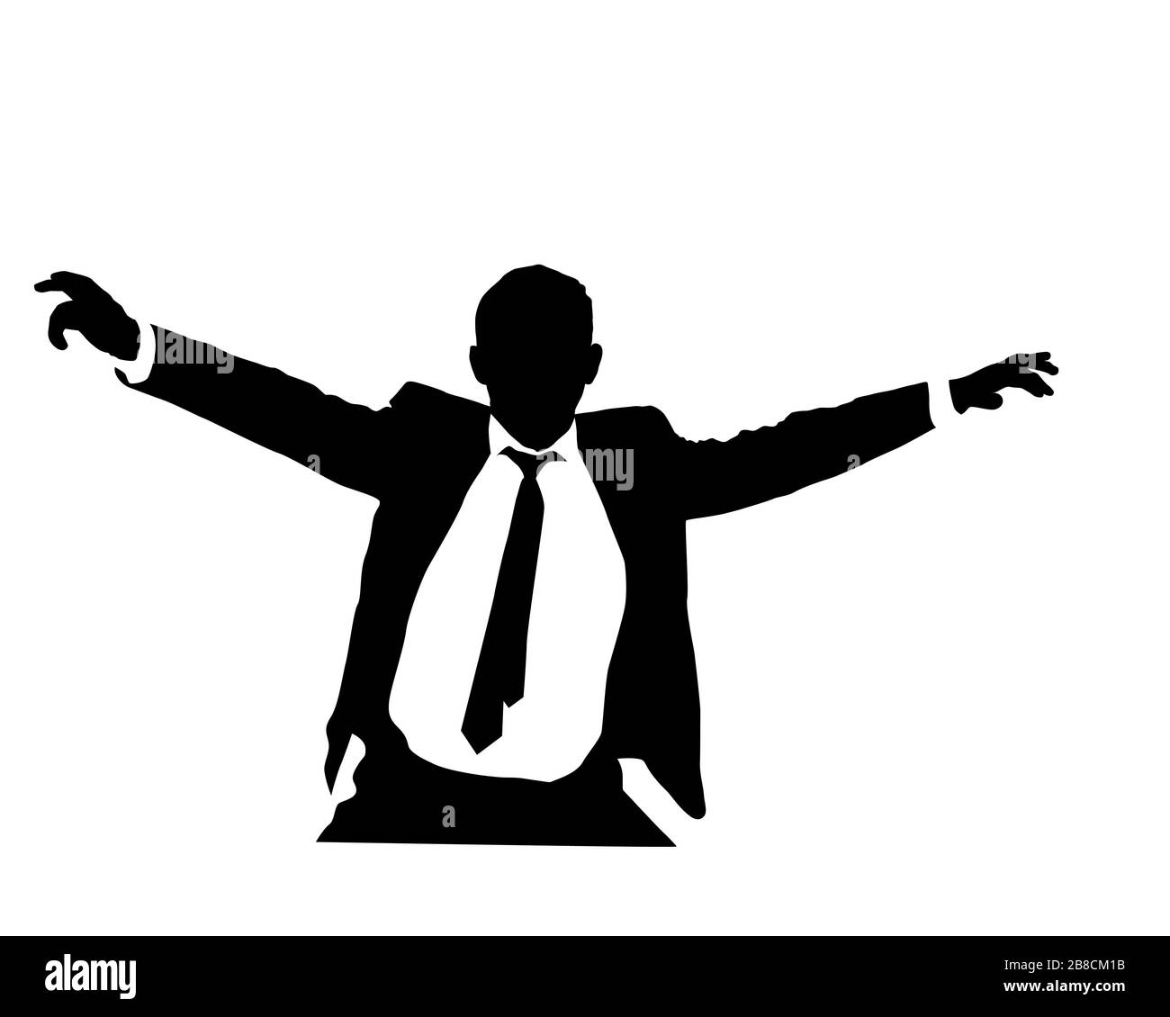 business man vector silhouette with open arms, vector illustration over  white background stock vector image & art - alamy  alamy
