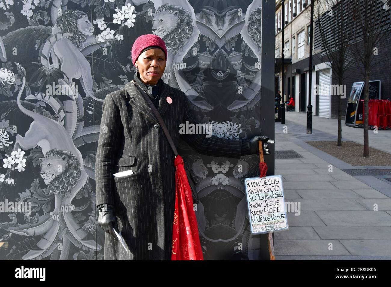 London, UK. 21st March 2020. A Christian preaching without mask at street during Coronavirus - Pandemic hit Oxford Street many shops closure a few open but empty on 21 March 2020, UK. Credit: Picture Capital/Alamy Live News Stock Photo