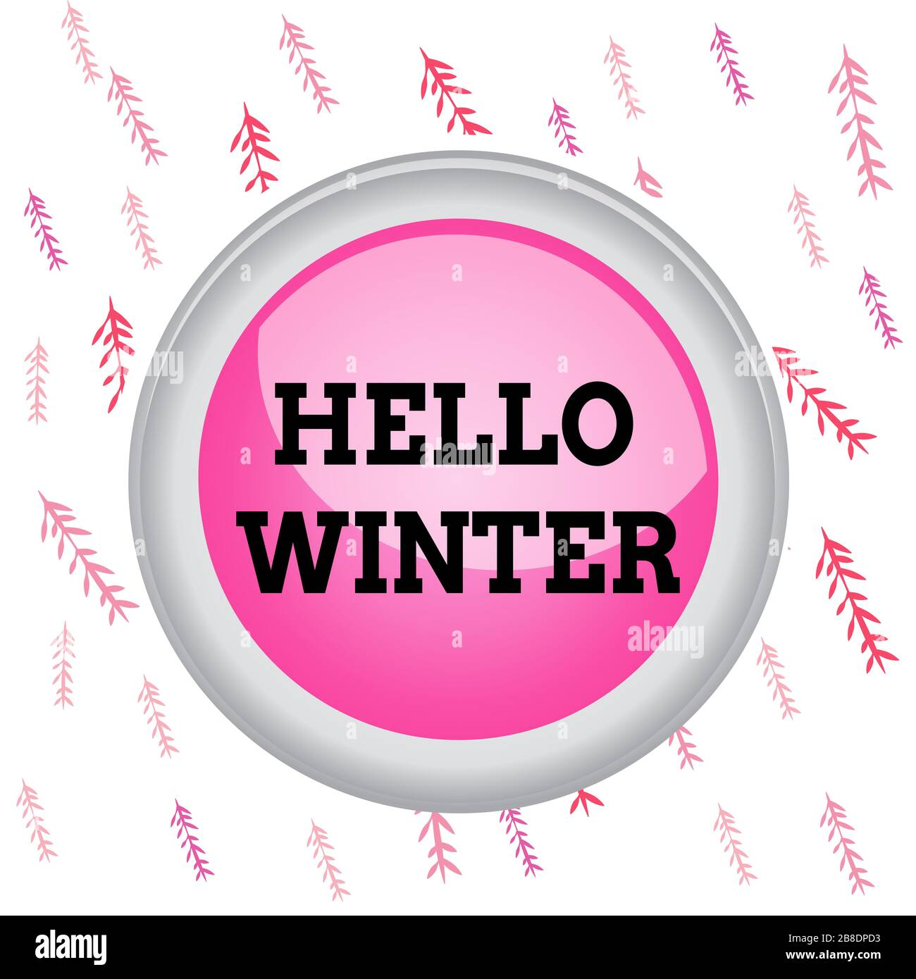 Handwriting text writing Hello Winter. Conceptual photo coldest season of the year in polar and temperate zones Circle button colored sphere switch ce Stock Photo