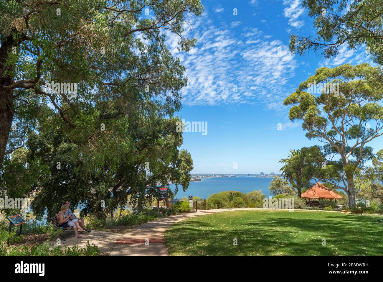 View over the Swan River from Mount Eliza Lookout, King's Park, Perth, Western Australia, Australia Stock Photo