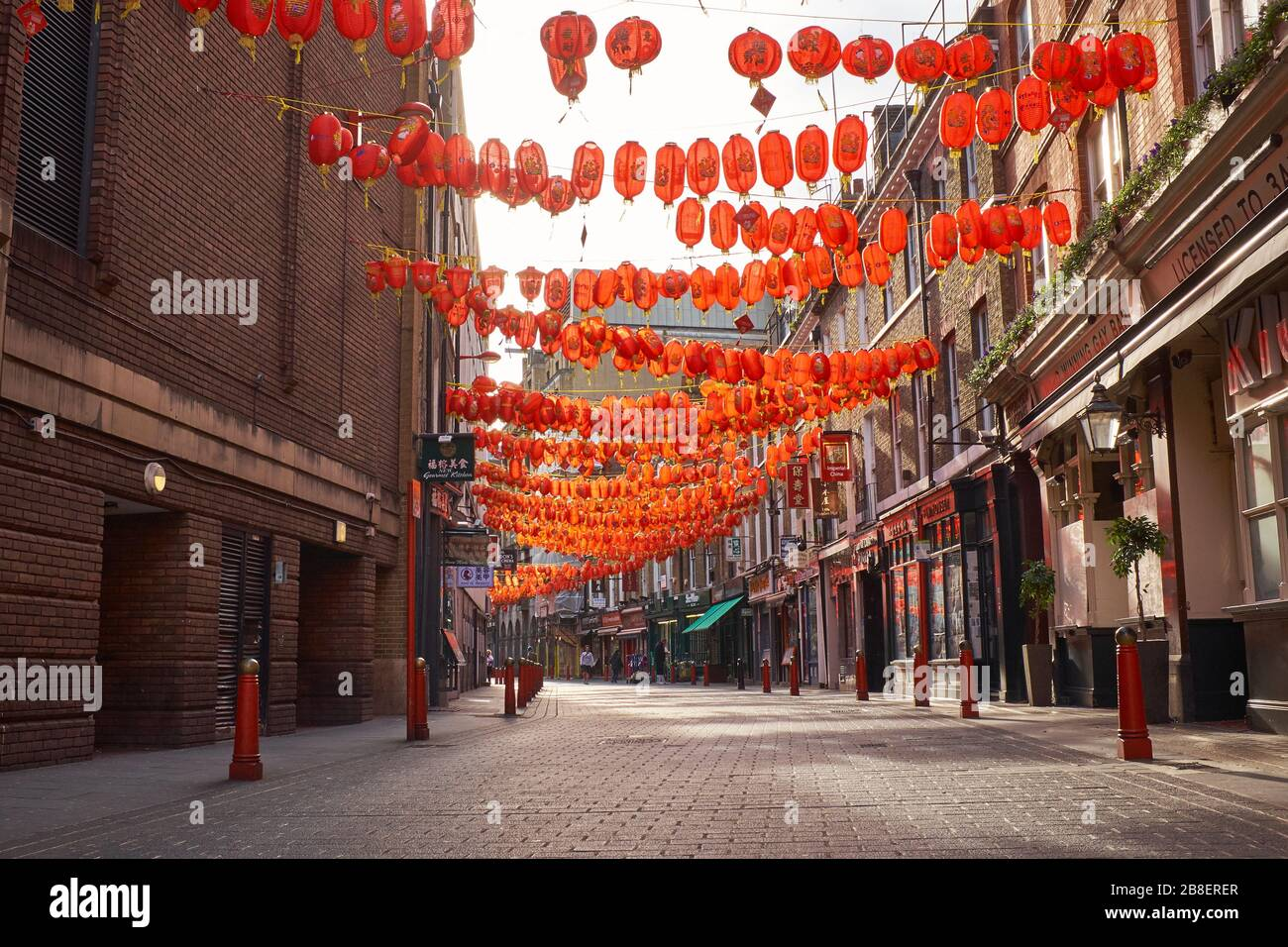 March 21st, 2020-Soho, London, England: Chinatown is almost deserted during the Coronavirus pandemic Stock Photo
