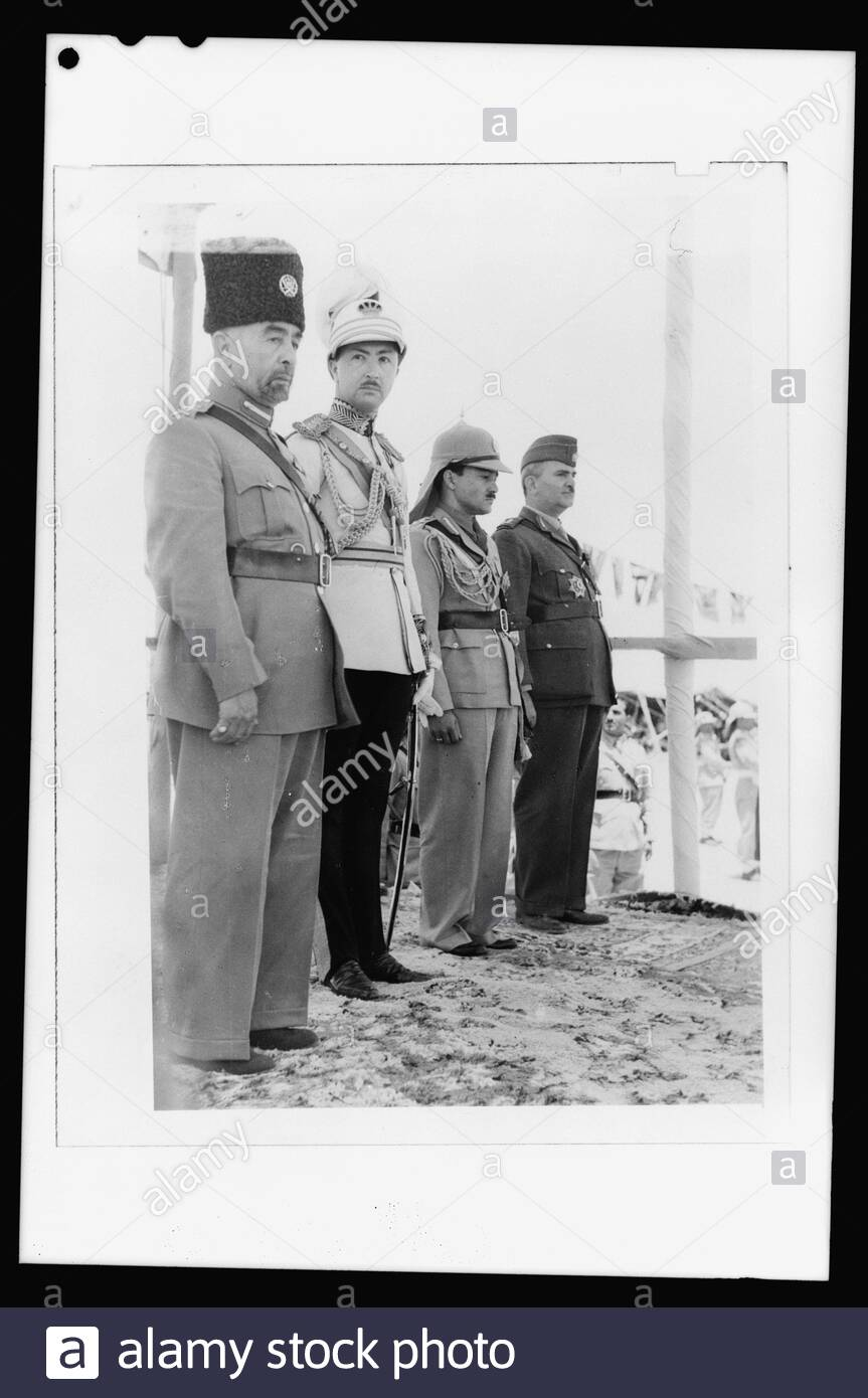 """""""English: Title: 'Coronation' of King Abdullah in Amman on May 25, '46. King Abdullah, Emir Abdul Illah, (Regent of Iraq), Emri Naif, King Abdullah's youngest son and Nuri Pasha Said, Iraqi Ambassador at Large Abstract/medium: G. Eric and Edith Matson Photograph Collection  Physical description: 1 negative:; Library of Congress Catalog: https://www.loc.gov/pictures/collection/matpc/item/mpc2010007704/PP Original url: https://hdl.loc.gov/loc.pnp/matpc.22544; Matson Collection; """" Stock Photo"""