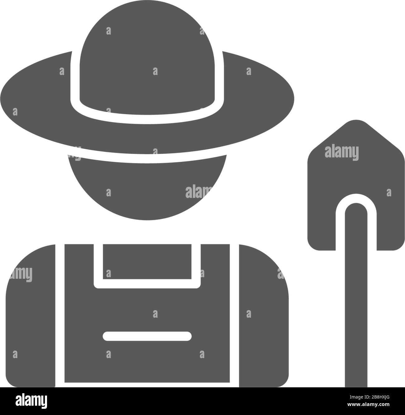 Farmer with shovel vector icon symbol isolated on white background Stock Vector