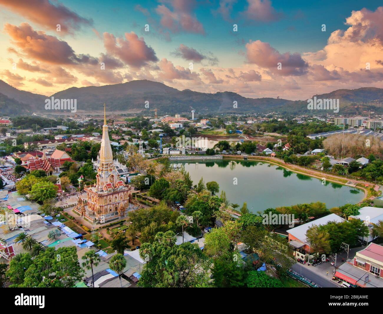 Aerial View With Drone. Wat Chalong or Chalong Temple in Pagoda Phuket Thailand. Public place. Drone Photo. Stock Photo