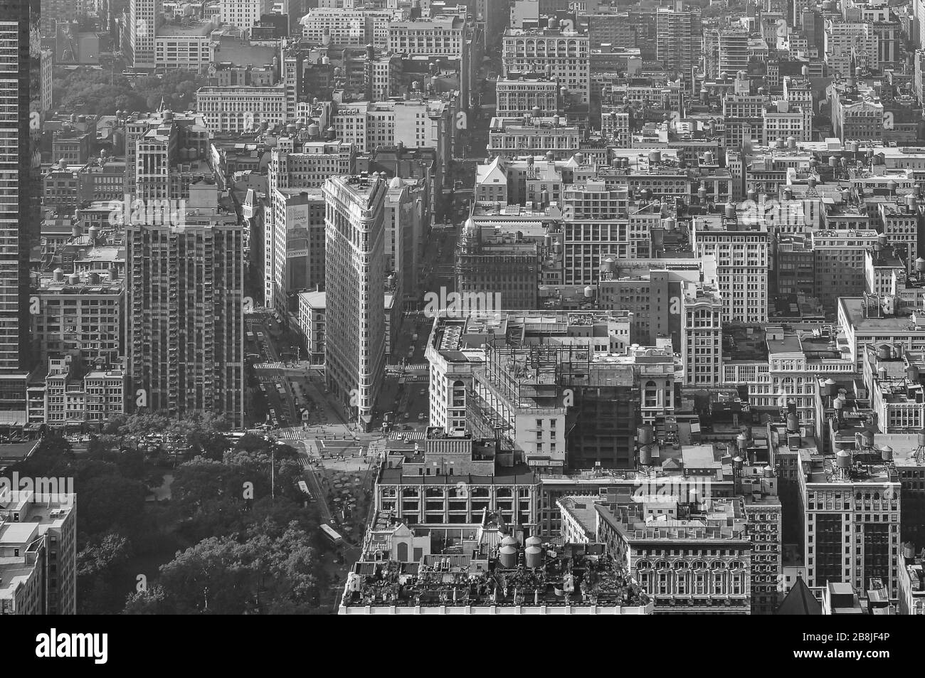 The popular flatiron buliding in New York with the impressive view from above as a black and white image, Stock Photo