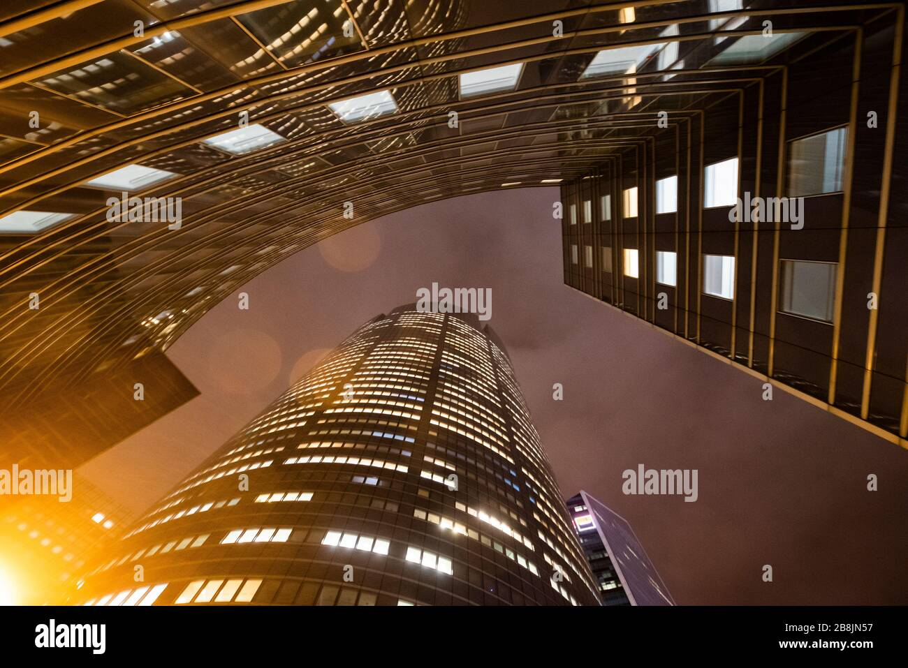 business office at night - corporate building Stock Photo