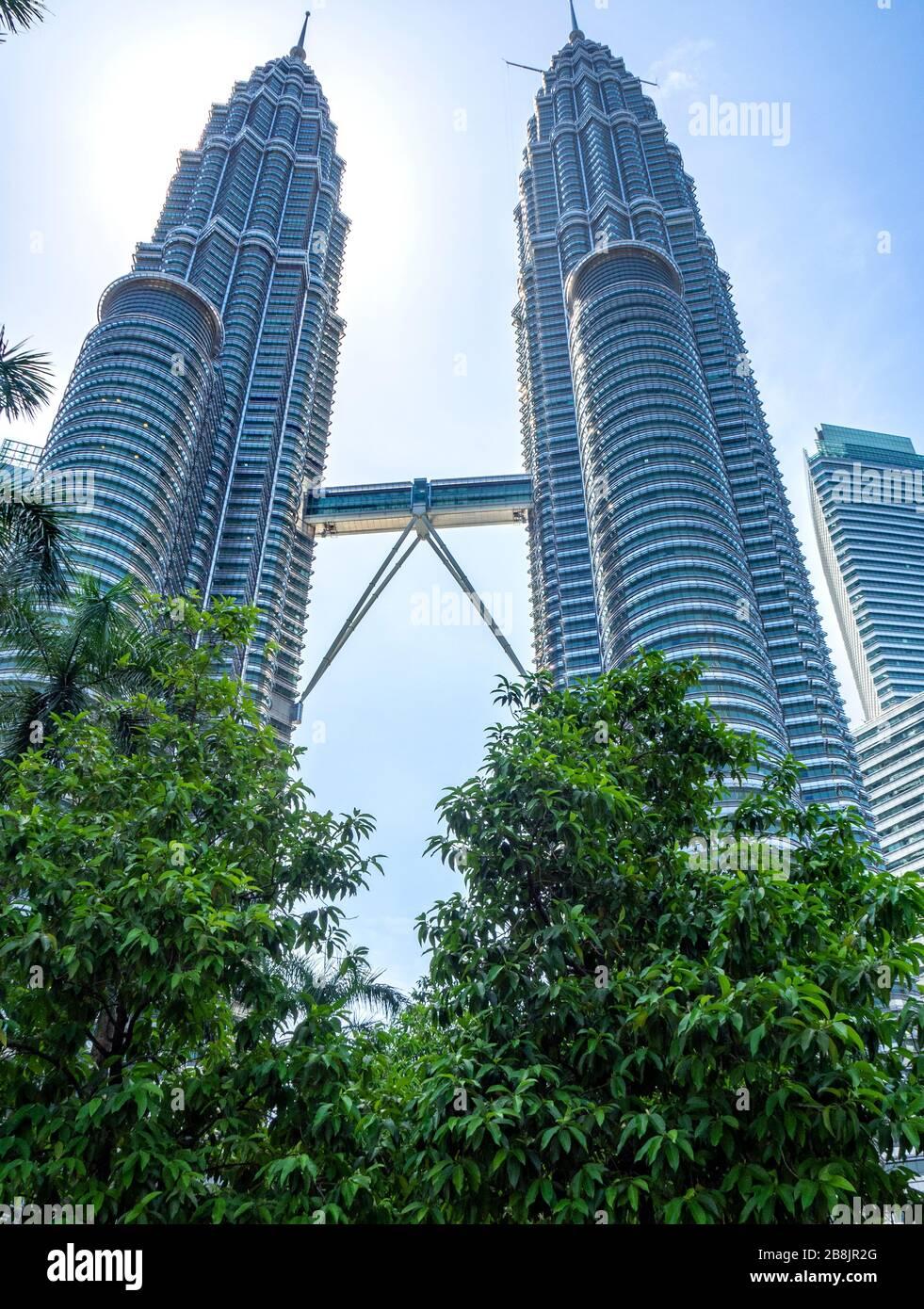 Sky bridge connecting the Petronas Twin Towers Kuala Lumpur Malaysia. Stock Photo