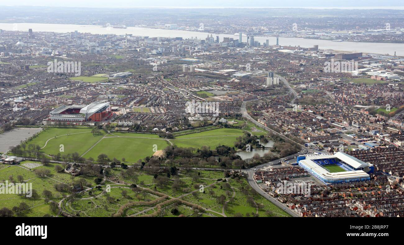 aerial view of Everton FC & Liverpool FC football grounds with Stanley Park between them, Liverpool Stock Photo