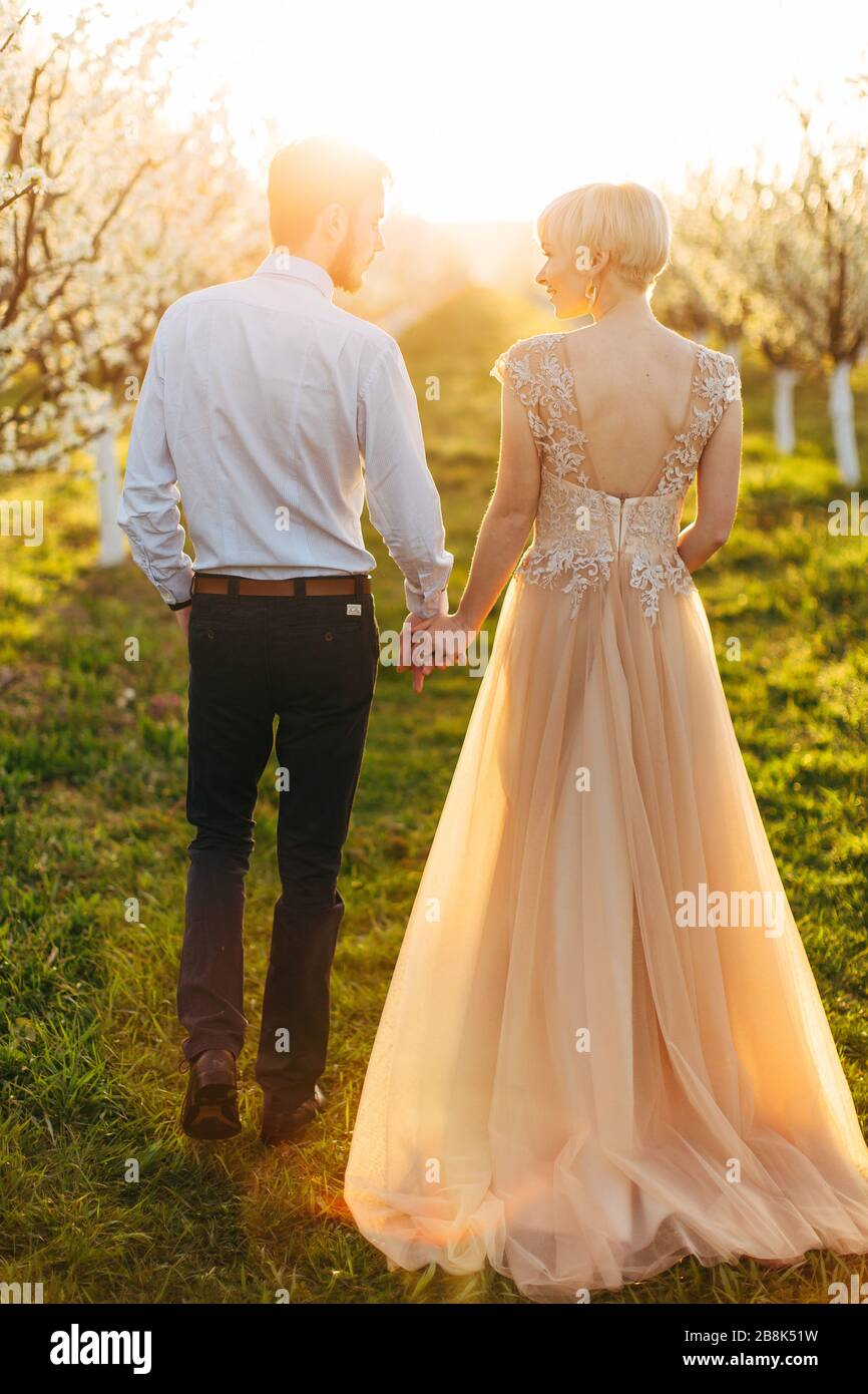 Back full length portrait of luxury happy wedding couple holding hands and walking, gorgeous bride in pink dress, tender romantic moment at spring Stock Photo