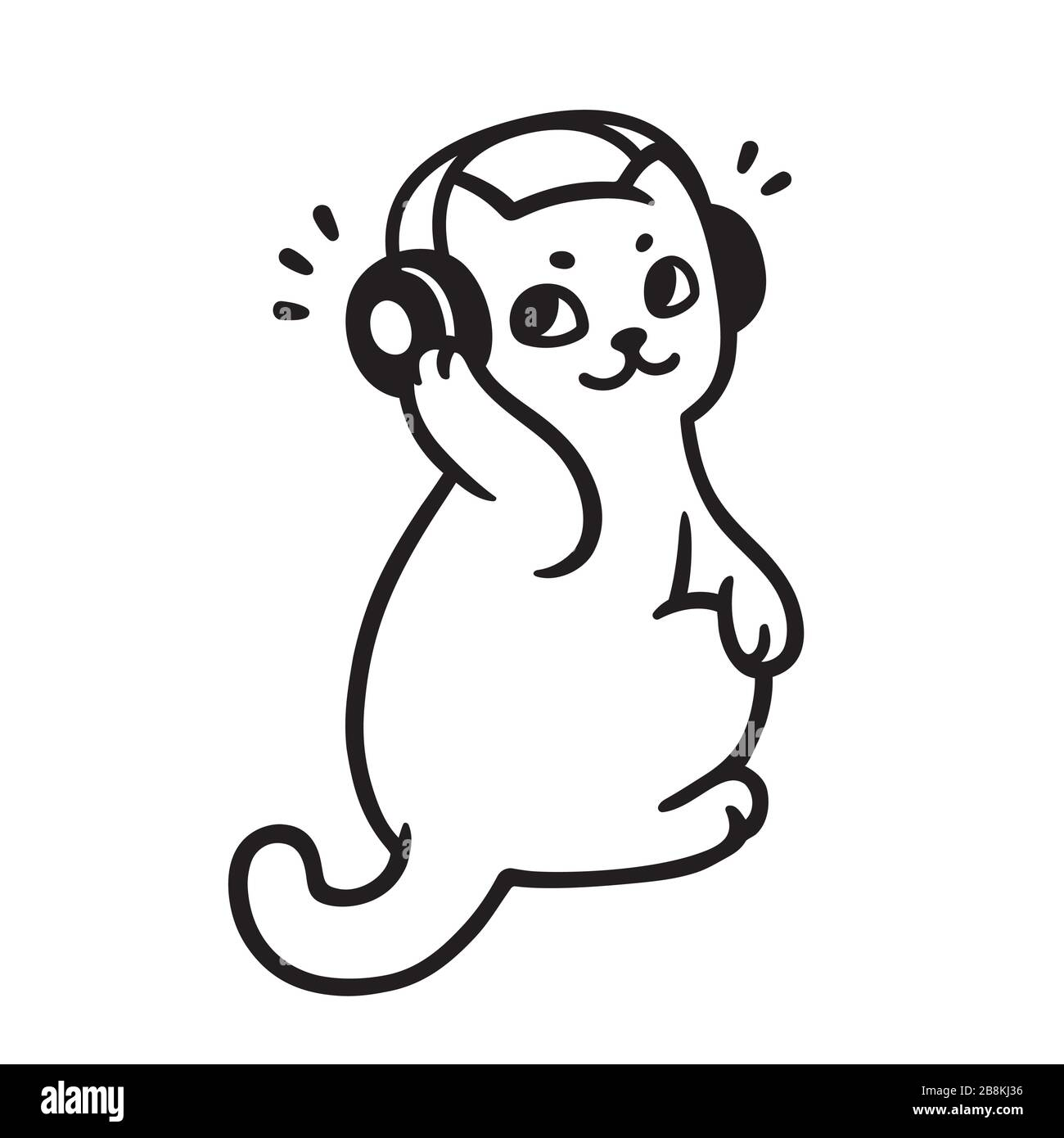 Cartoon Cat With Headphones Listening To Music Cute Music Fan Kitty Drawing Black And White Vector Illustration Stock Vector Image Art Alamy
