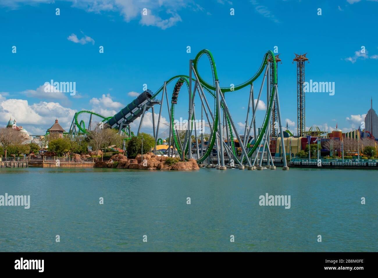 Orlando, Florida. March 02, 2019. People enjoying amazing The Incredible Hulk Coaster at Universals Islands of Adventure Stock Photo