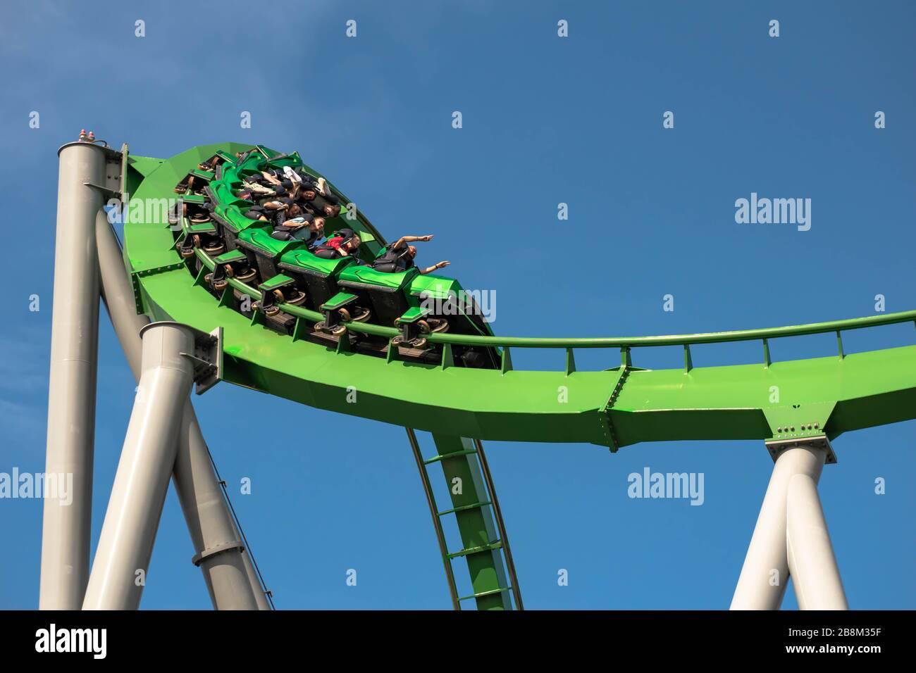 Orlando, Florida. March 02, 2019. People having fun The Incredible Hulk Coaster at Universals Islands of Adventure Stock Photo
