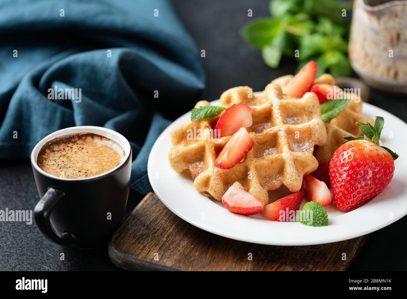 Tasty Belgian Waffles With Strawberries And Cup Of Coffee Tasty Sweet Breakfast Food Stock Photo Alamy