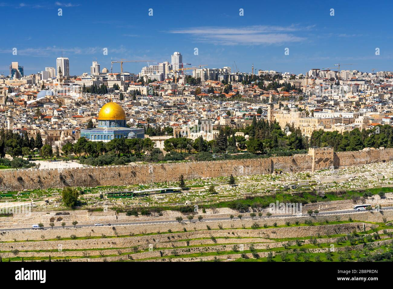 The city skyline from the Mount of Olives, Jerusalem, Israel, Middle East. Stock Photo