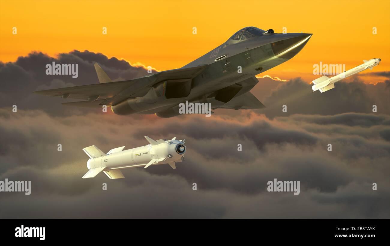 Russian fifth generation fighter SU-57-3d illustration. Stock Photo