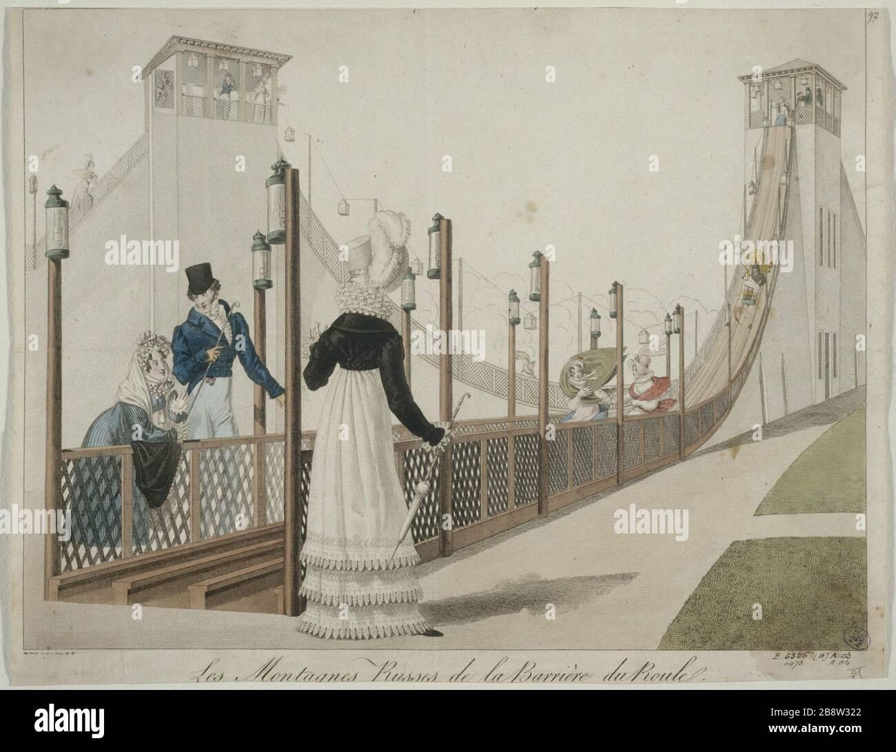 Paris - The Roller Coaster of the Barriere du Roule, current Place des Ternes Les Montagnes Russes de la barrière du Roule, actuelle place des Ternes, Paris (VIIIème arr.). Paris, musée Carnavalet. Stock Photo