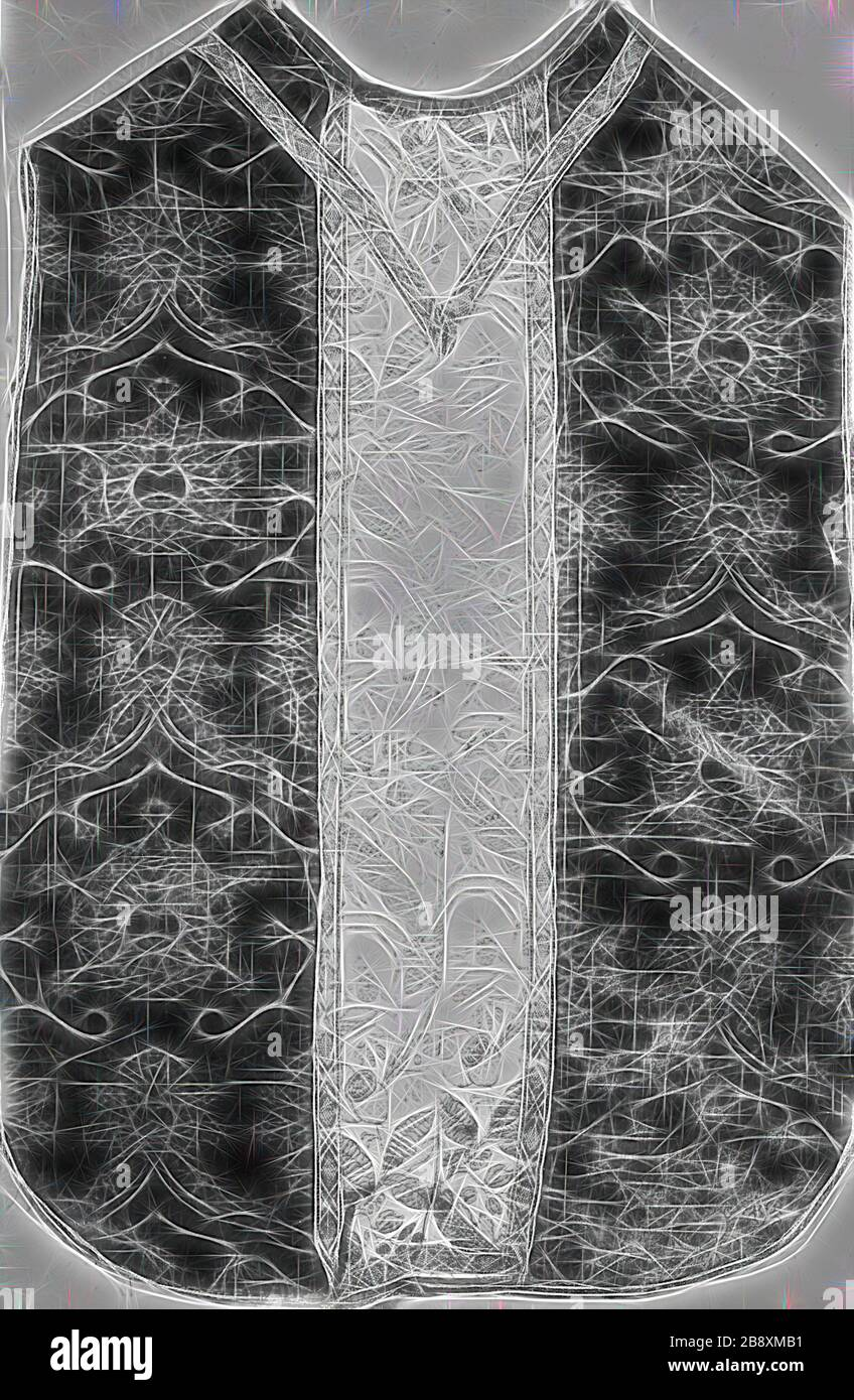Chasuble, 1475/1500, Italy, Silk, warp-float faced 4:1 satin weave with supplementary pile warps forming cut voided velvet, Orphrey: silk, plain weave with supplementary patterning warps, edged with gilt-metal strip and gilt-metal-strip-wrapped linen, plain weaves self-patterned by main warp floats, 97 x 73 cm (38 1/4 x 28 3/4 in.), Reimagined by Gibon, design of warm cheerful glowing of brightness and light rays radiance. Classic art reinvented with a modern twist. Photography inspired by futurism, embracing dynamic energy of modern technology, movement, speed and revolutionize culture. Stock Photo