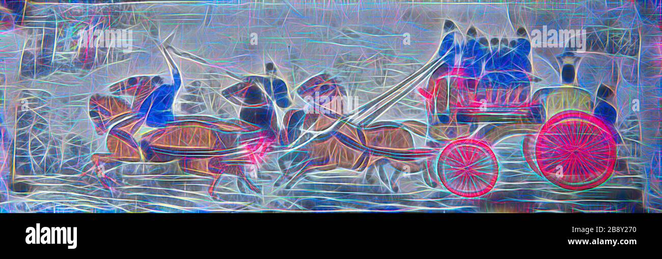Heroism on Land (Fire Engine), 1875/1900, Woven by Thomas Stevens (English, 1828–1888), England, Coventry, Coventry, Reimagined by Gibon, design of warm cheerful glowing of brightness and light rays radiance. Classic art reinvented with a modern twist. Photography inspired by futurism, embracing dynamic energy of modern technology, movement, speed and revolutionize culture. Stock Photo