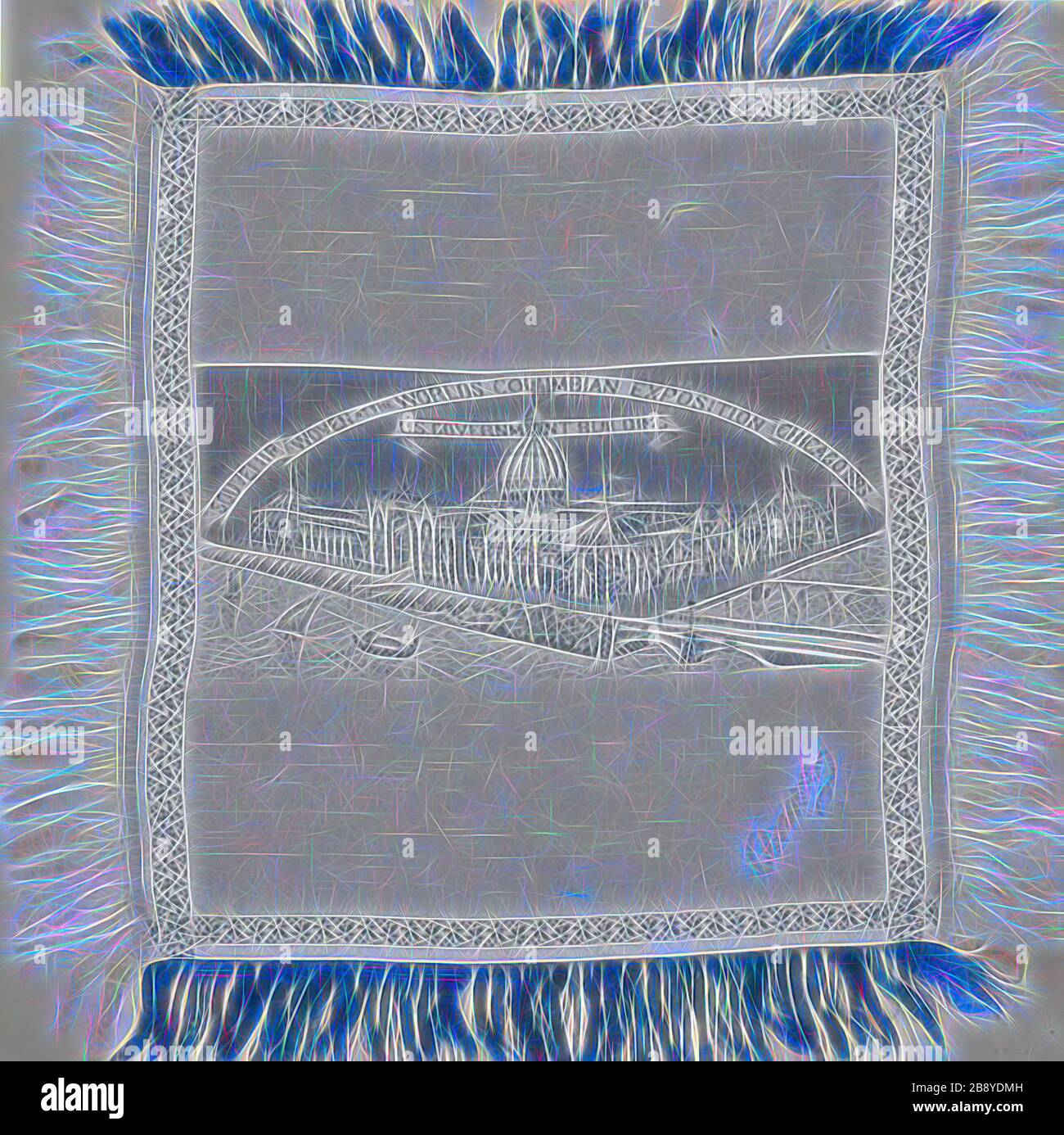Scarf Commemorating the World's Columbian Exposition, 1893, United States, Illinois, Chicago, Chicago, Silk, weft-float faced satin weave self-patterned by main warp floats and areas of plain interlacing, extended ground weft cut fringe, woven on loom with Jacquard attachment, signature embroidered in couching, 34.3 × 34 cm (13 1/2 × 13 3/8 in.), Reimagined by Gibon, design of warm cheerful glowing of brightness and light rays radiance. Classic art reinvented with a modern twist. Photography inspired by futurism, embracing dynamic energy of modern technology, movement, speed and revolutionize Stock Photo