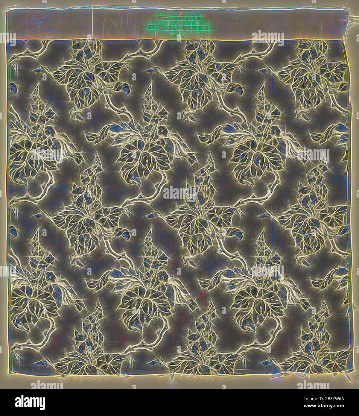 Panel, 1849, England, Spitalfields, Spitalfields, Silk, warp-float faced 7:1 satin weave self-patterned by areas of plain weave and ground weft floats, 72.5 x 67.9 cm (28 1/2 x 26 3/4 in.), Reimagined by Gibon, design of warm cheerful glowing of brightness and light rays radiance. Classic art reinvented with a modern twist. Photography inspired by futurism, embracing dynamic energy of modern technology, movement, speed and revolutionize culture. Stock Photo