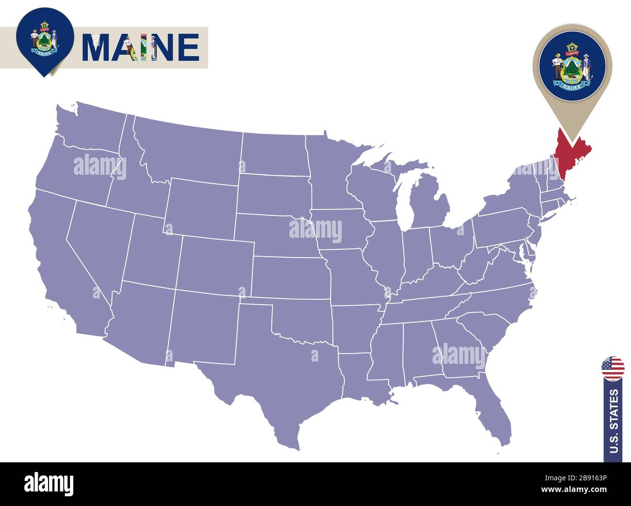 Maine State On Usa Map Maine Flag And Map Us States Stock Vector