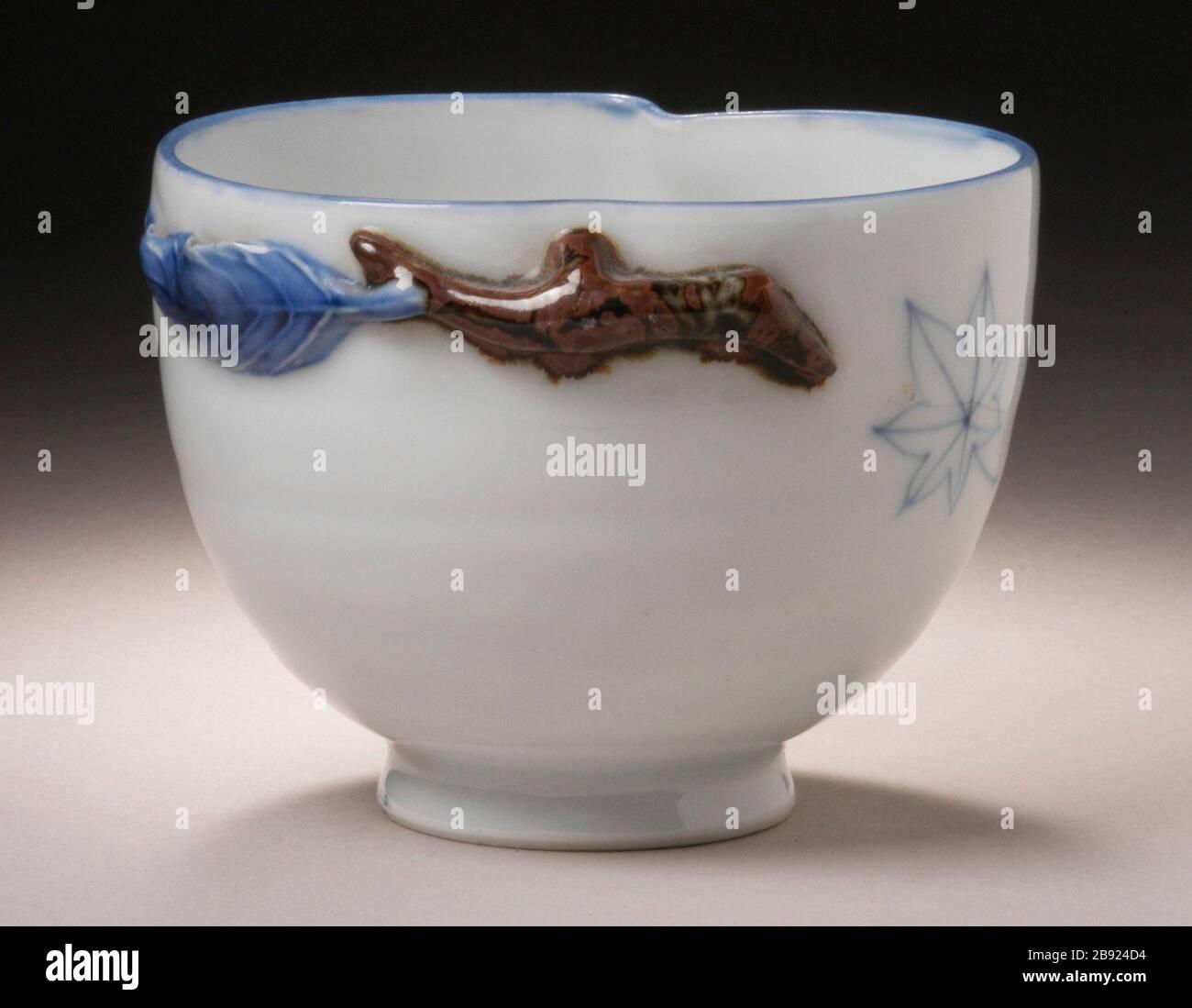 Antique Japanese Porcelain Bowl Blue and White Harbor /& Lanscape 19th //20th c.