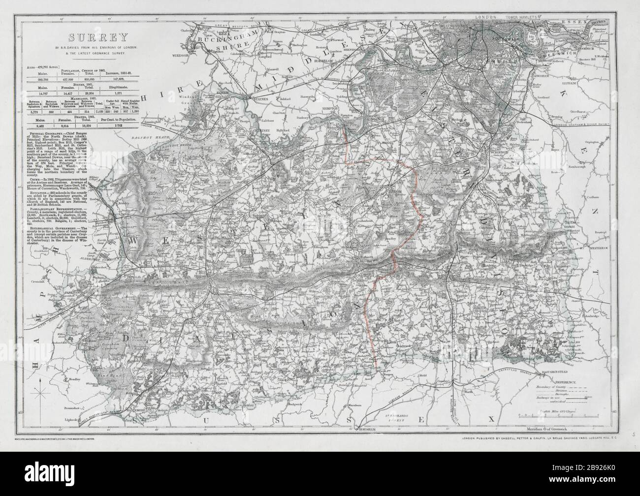 North Downs BAEDEKER 1906 old map Surrey DORKING /& GUILDFORD environs