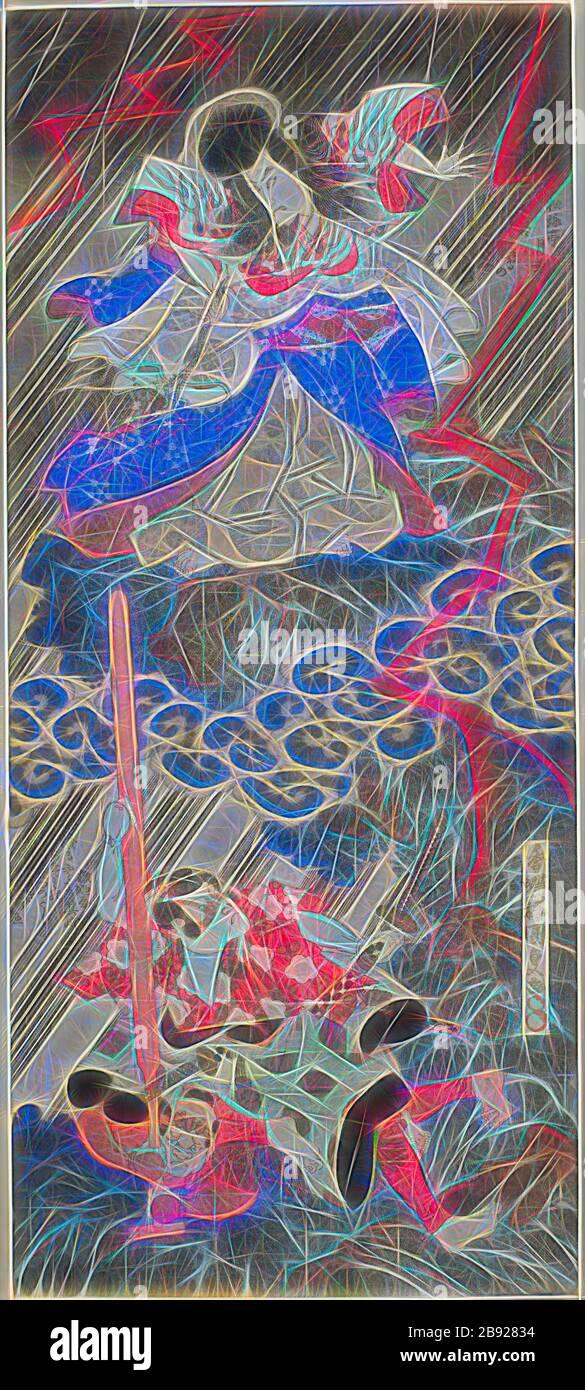 The actors Ichikawa Danjuro VII as Kan Shojo (Sugawara Michizane) and Segawa Kikunojo V as Umeomaru in the play Sugawara Denju Tenarai Kagami, performed at the Kawarazaki Theater in the ninth month, 1832, 1832, Utagawa Kunisada I (Toyokuni III), Japanese, 1786-1864, Japan, Color woodblock print, vertical shikishiban diptych, surimono, 43.7 x 19.3 cm, Reimagined by Gibon, design of warm cheerful glowing of brightness and light rays radiance. Classic art reinvented with a modern twist. Photography inspired by futurism, embracing dynamic energy of modern technology, movement, speed and revolution Stock Photo