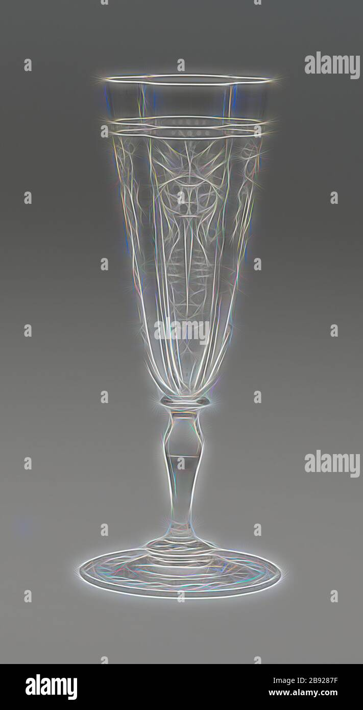 Champagne Flute, 19th century, J. & L. Lobmeyr, Austrian, founded 1822, Vienna, Glass, clear and blown with quadri-lobed bowl, H. 17.5 (6 7/8 in.), Reimagined by Gibon, design of warm cheerful glowing of brightness and light rays radiance. Classic art reinvented with a modern twist. Photography inspired by futurism, embracing dynamic energy of modern technology, movement, speed and revolutionize culture. Stock Photo