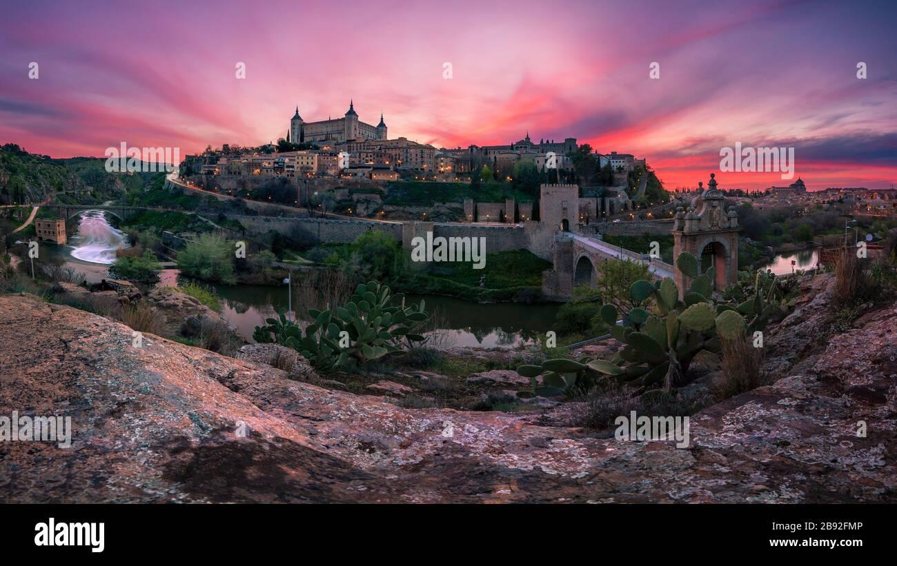 Beautiful panoramic view of Toledo at sunset. Travel concept. Stock Photo