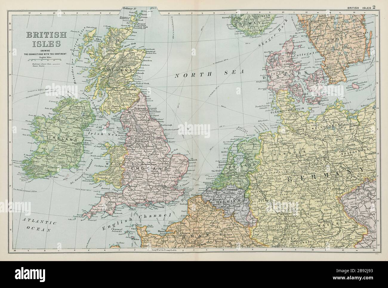 British Isles Northern Europe Benelux Germany Denmark Bacon 1900 Old Map Stock Photo Alamy