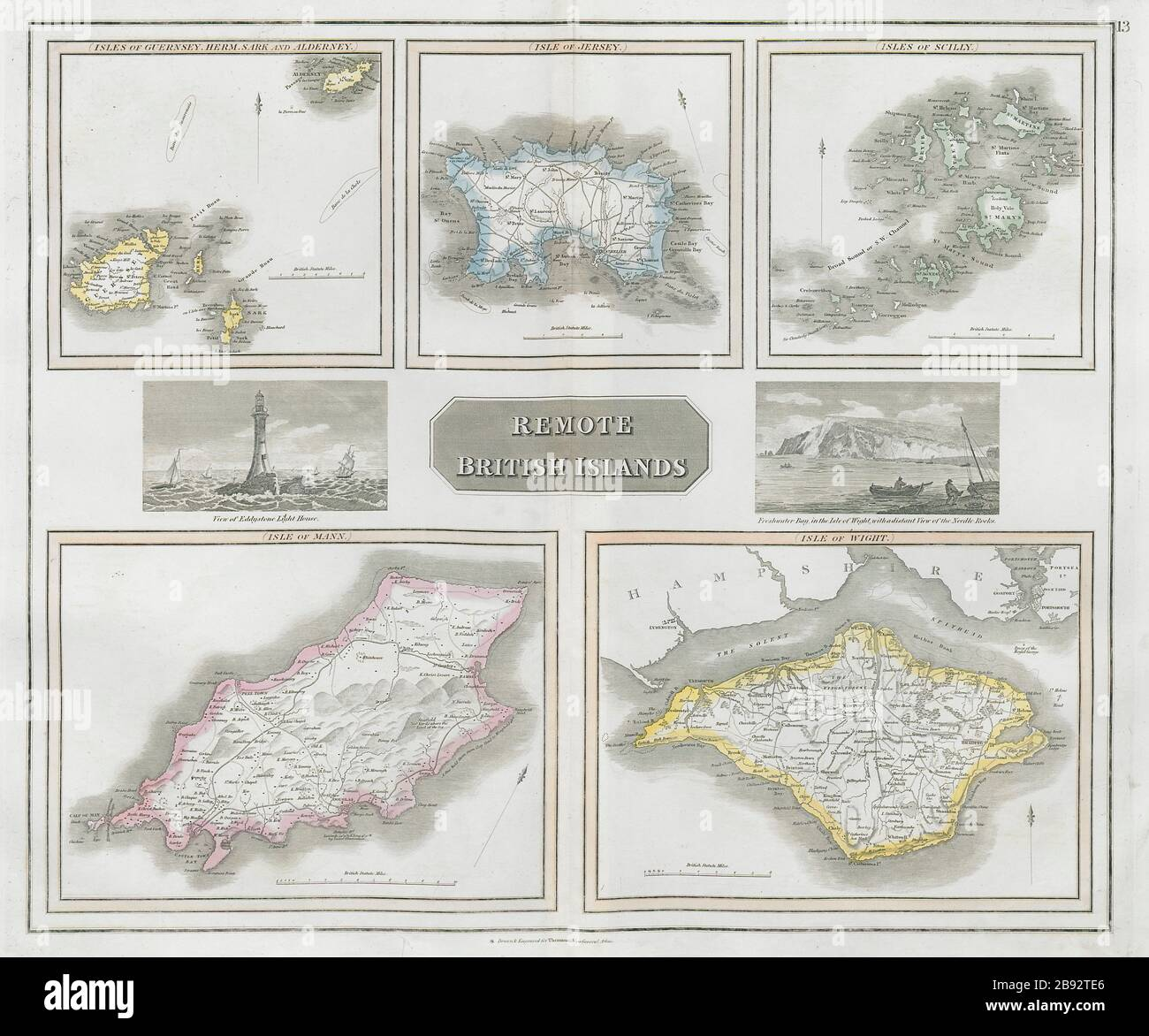 Jersey etc Wight Man Old vintage repro map British Islands by Thomson 1817