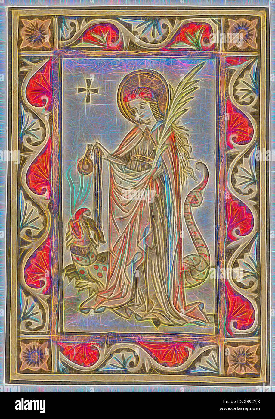 St. Margaret of Antioch, around 1440/50, woodcut, colored (unique), unique, 18.5 x 13.1 cm, Anonym, Oberrhein, 15. Jh., Reimagined by Gibon, design of warm cheerful glowing of brightness and light rays radiance. Classic art reinvented with a modern twist. Photography inspired by futurism, embracing dynamic energy of modern technology, movement, speed and revolutionize culture. Stock Photo