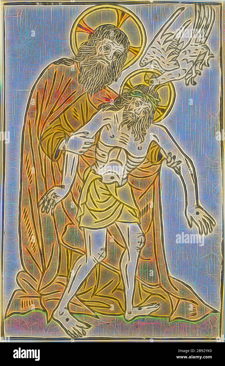 The Trinity, c. 1450, woodcut, colored, leaf: 20.9 x 13.6 cm, Anonym, Oberrhein (Schweiz?), 15. Jh., Reimagined by Gibon, design of warm cheerful glowing of brightness and light rays radiance. Classic art reinvented with a modern twist. Photography inspired by futurism, embracing dynamic energy of modern technology, movement, speed and revolutionize culture. Stock Photo