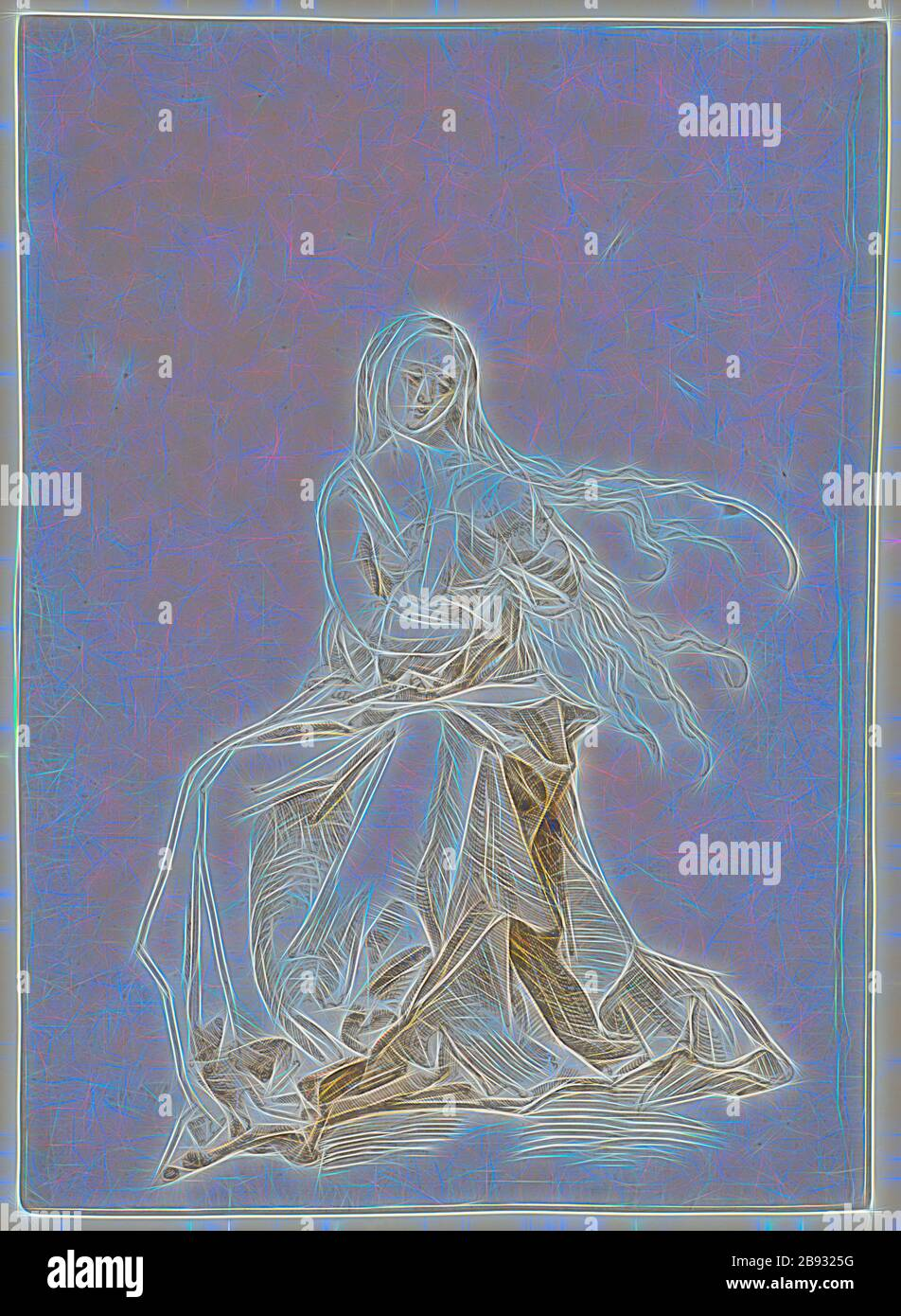 Mary with Child, Feather in Brown, Leaf: 30.5 x 21.7 cm, Not marked, Anonym, Oberrhein (sog. Pseudo-Leu), Reimagined by Gibon, design of warm cheerful glowing of brightness and light rays radiance. Classic art reinvented with a modern twist. Photography inspired by futurism, embracing dynamic energy of modern technology, movement, speed and revolutionize culture. Stock Photo