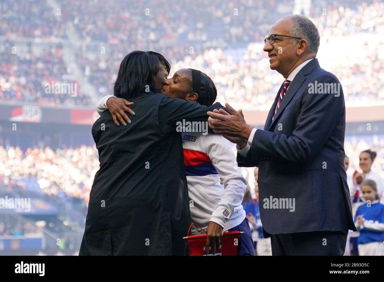 HARRISON. USA. MAR 08:  Family members of Crystal Dunn of the USA celebrate her 100th cap ceremony during the 2020 SheBelieves Cup Women's International friendly football match between USA Women vs Spain Women at Red Bull Arena in Harrison, NJ, USA. ***No commericial use*** (Photo by Daniela Porcelli/SPP) Stock Photo