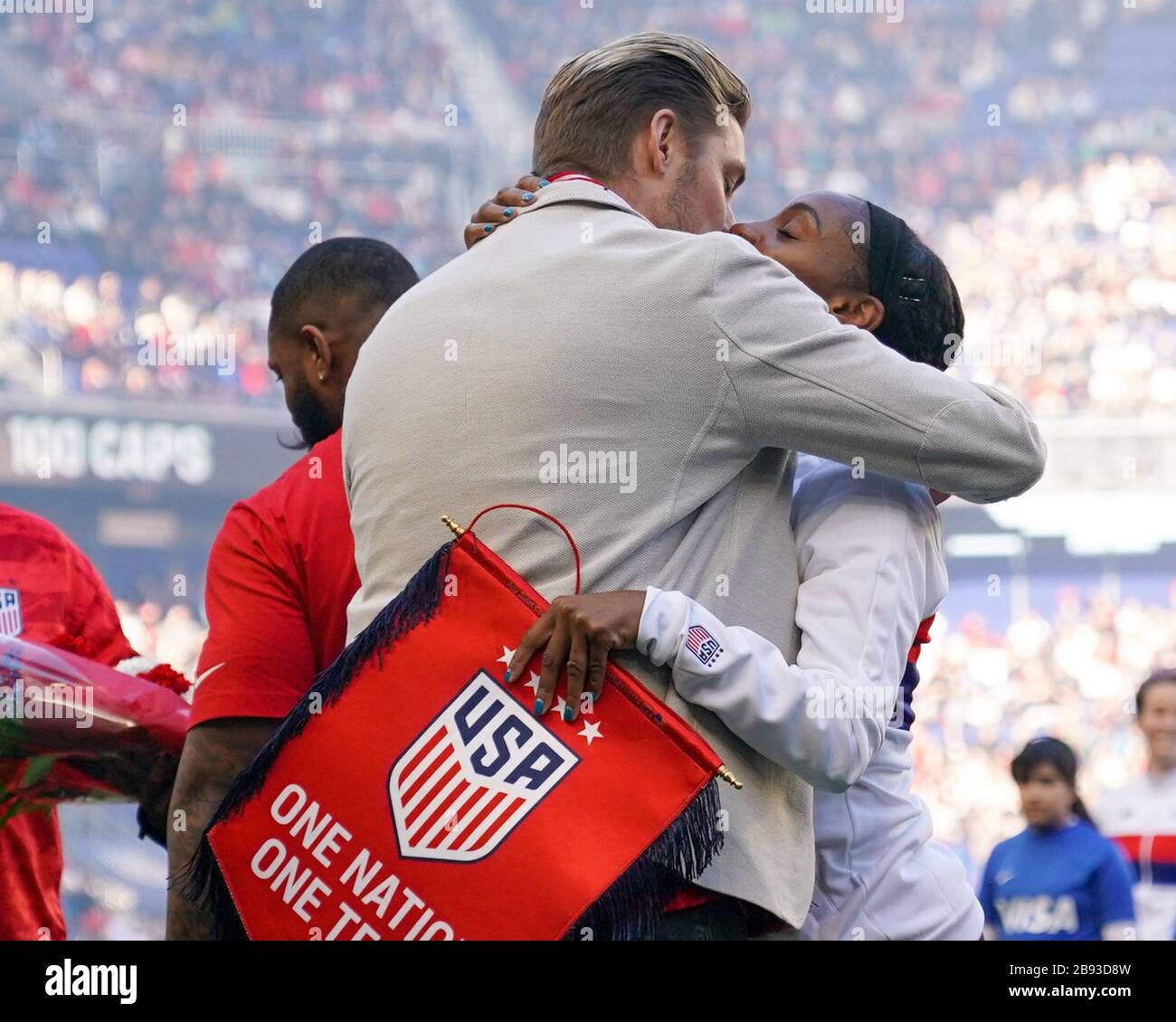 HARRISON. USA. MAR 08:  Family members of Crystal Dunn of the USA (here her husband Pierre Soubrier) celebrate her 100th cap ceremony during the 2020 SheBelieves Cup Women's International friendly football match between USA Women vs Spain Women at Red Bull Arena in Harrison, NJ, USA. ***No commericial use*** (Photo by Daniela Porcelli/SPP) Stock Photo