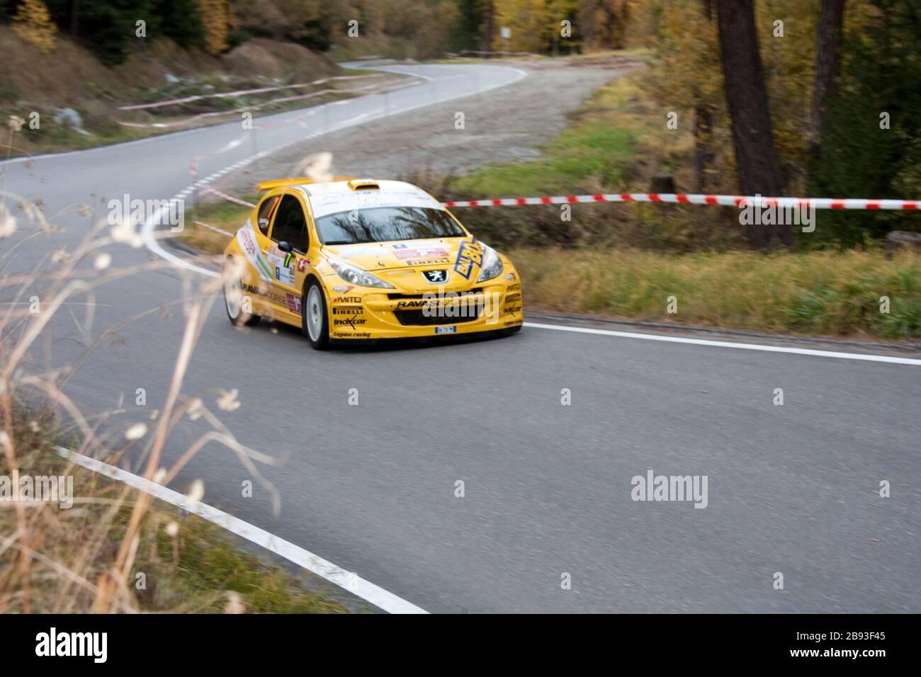 """""""English: Picture from Rallye Car in Switzerland Deutsch: Rally du Valais 2009; 30 October 2010; Dieses Bild wurde auf der Rallye International du Valais ende Oktober aufgenommen.; Martin Arnold Deutschland; """" Stock Photo"""