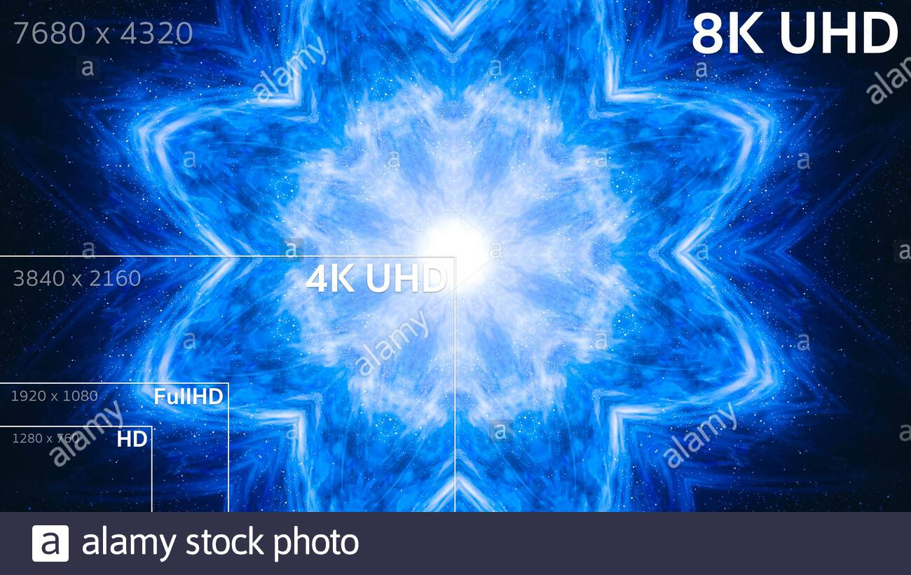 8k 4k Full Hd Hd Standard Television Resolution Size Stock Photo Alamy