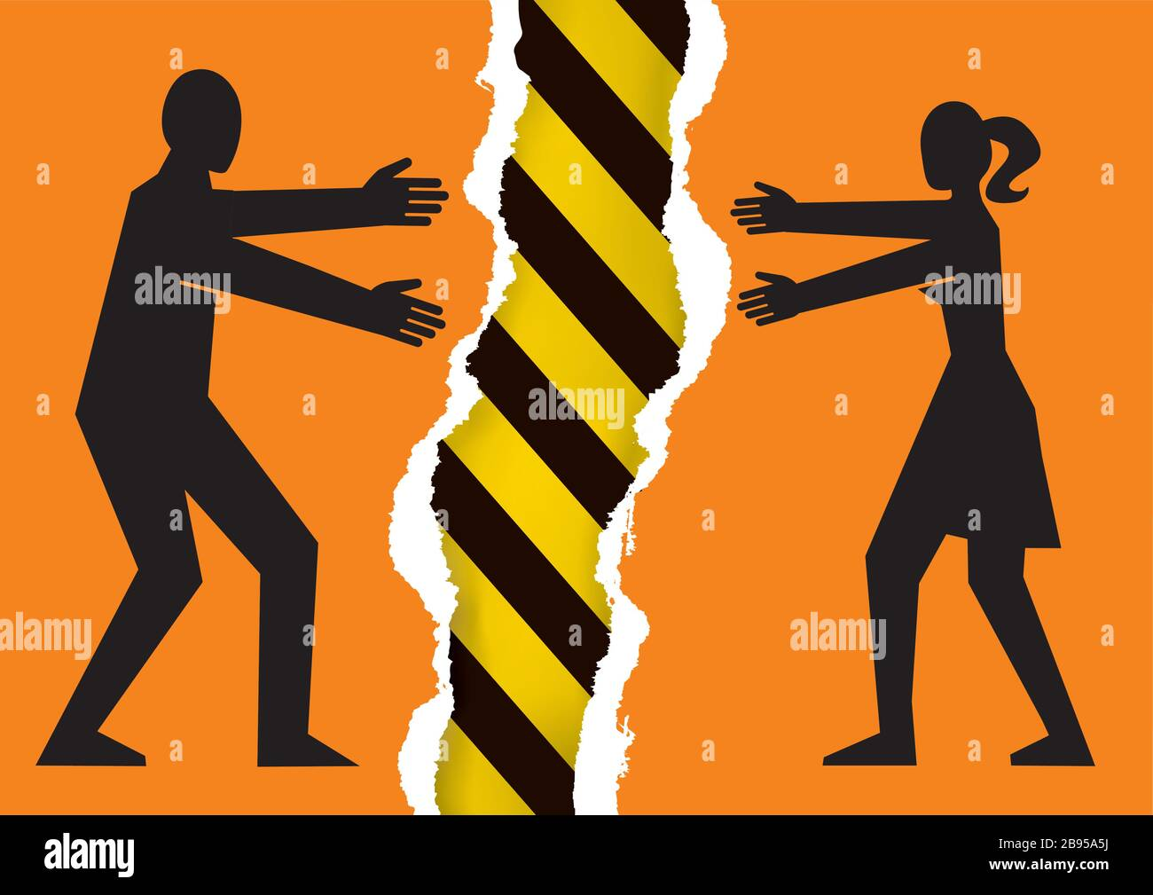 Separated couple, a dangerous relationship. Illustration of torn paper with young heterosexual couple silhouettes and under construction sign. Stock Vector