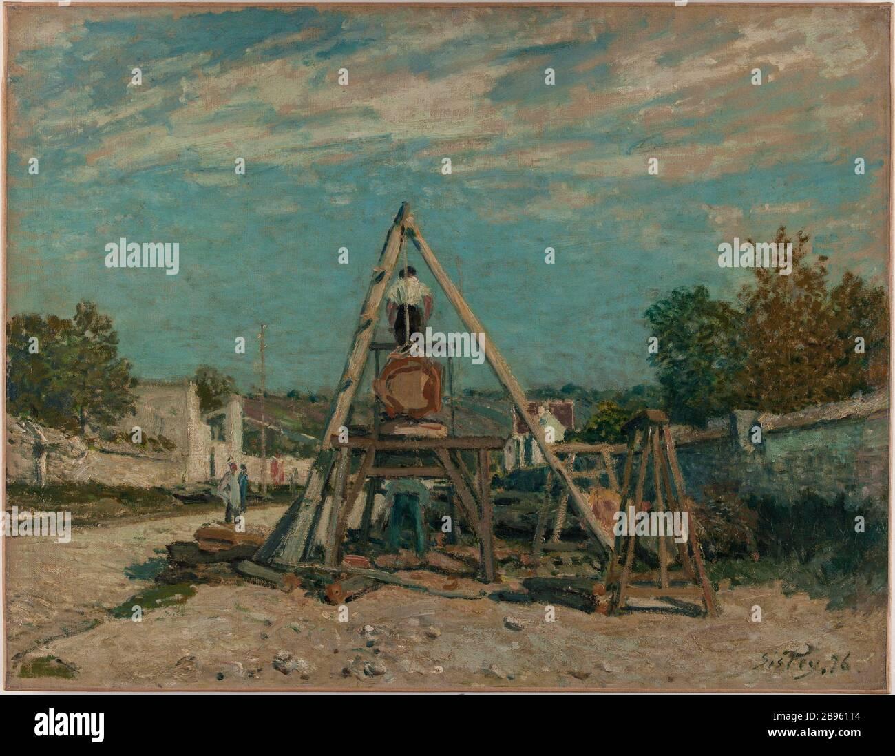 """Pitsawyers Alfred Sisley (1839-1899). """"Les scieurs de long"""". Huile sur toile. 1876. Musée des Beaux-Arts de la Ville de Paris, Petit Palais. Stock Photo"""