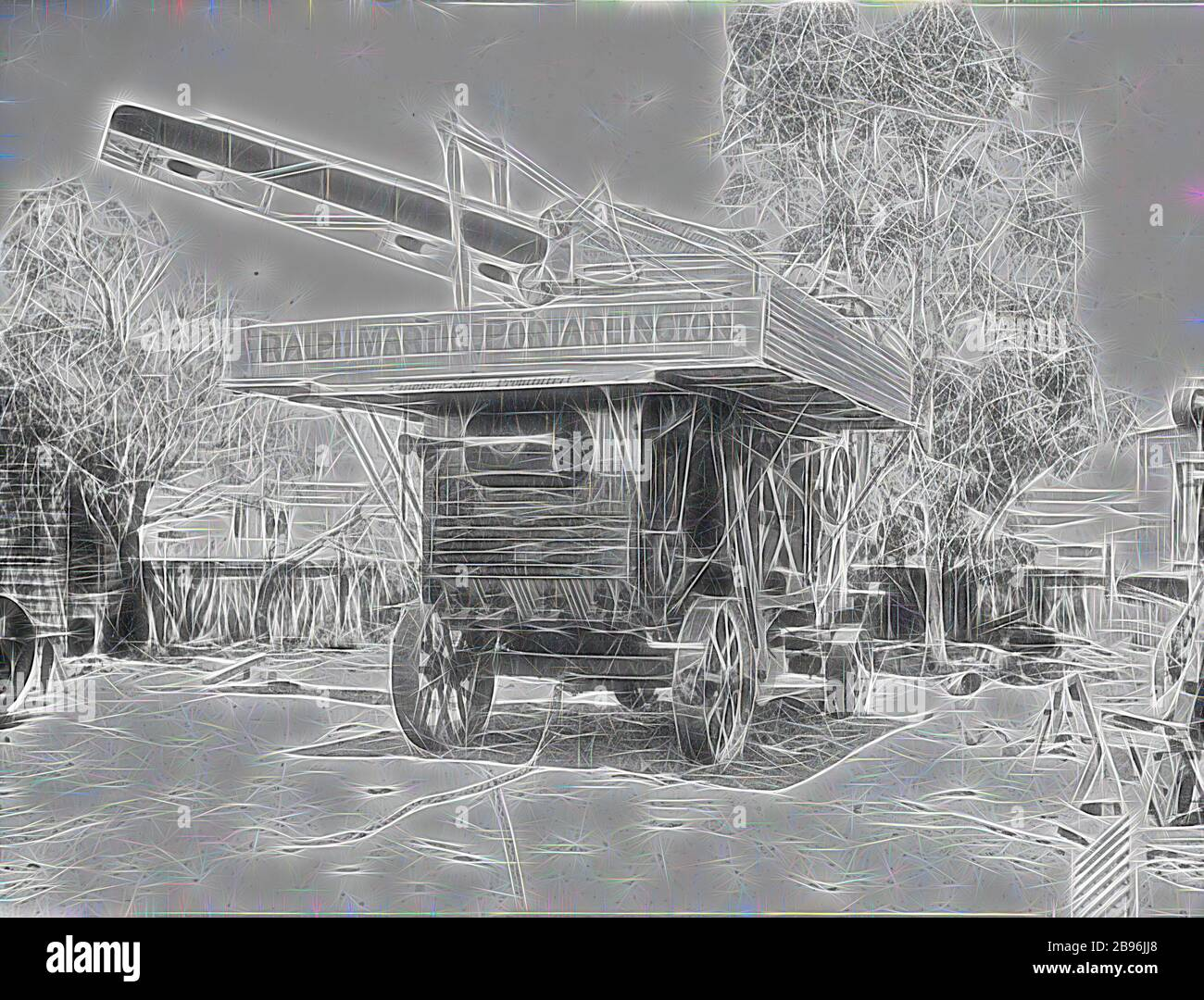 Negative - Threshing Machine, Ralph Martin, Portarlington, Victoria, circa 1915, Travelling threshing machine of contractor Ralph Martin, Portarlington, Victoria. The threshing machine is fitted with a patent sheaf elevator and feeder labelled P.W. Sides' Patent, No.19746/10. No.3, Sawmill, ???, Geelong, Reimagined by Gibon, design of warm cheerful glowing of brightness and light rays radiance. Classic art reinvented with a modern twist. Photography inspired by futurism, embracing dynamic energy of modern technology, movement, speed and revolutionize culture. Stock Photo