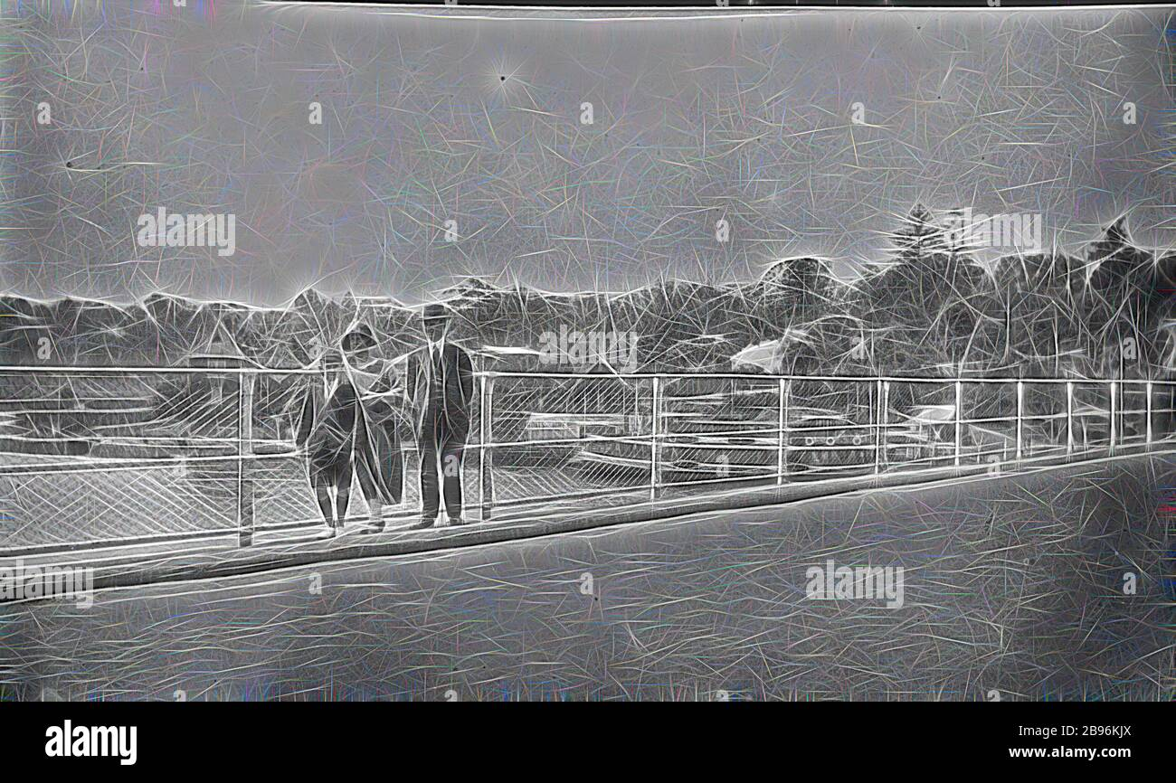 Negative - Lane Cove, New South Wales, circa 1930, The Henshaw family pictured on a bridge at Lane Cove, a Sydney Harbour ferry in the background., Reimagined by Gibon, design of warm cheerful glowing of brightness and light rays radiance. Classic art reinvented with a modern twist. Photography inspired by futurism, embracing dynamic energy of modern technology, movement, speed and revolutionize culture. Stock Photo
