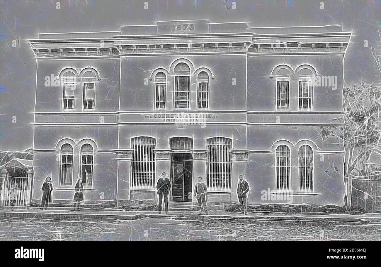 Design Bank Twist.Negative Victoria Circa 1913 Staff And Bystanders Outside The