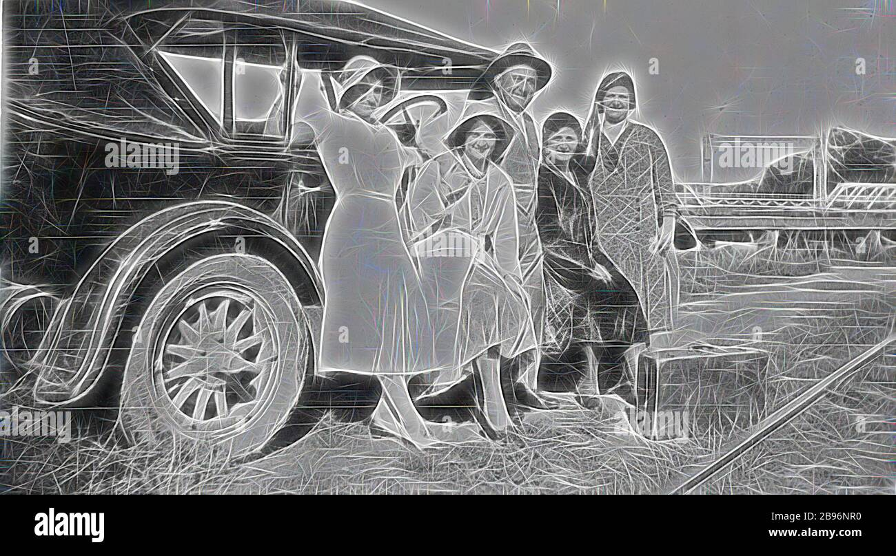 Negative - Swan Hill, Victoria, circa 1930, A man and four women beside a car. A bridge over the Murray River is in the background. There is a suitcase on the ground in front of the group while a railway line is visible at the bottom right hand corner., Reimagined by Gibon, design of warm cheerful glowing of brightness and light rays radiance. Classic art reinvented with a modern twist. Photography inspired by futurism, embracing dynamic energy of modern technology, movement, speed and revolutionize culture. Stock Photo
