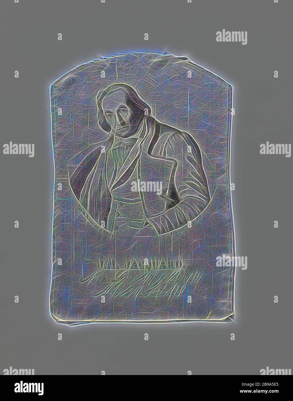 Fragment of a silk fabric with a portrait and inscription, A gray silk fabric with a portrait of J.M. Jaquard and an inscription: 'Né à Lyon le 7 millet 1752. Mort le 7 tout 1834., anonymous, 1835, silk, lampas (textile material), h 17.5 cm × w 11.7 cm, Reimagined by Gibon, design of warm cheerful glowing of brightness and light rays radiance. Classic art reinvented with a modern twist. Photography inspired by futurism, embracing dynamic energy of modern technology, movement, speed and revolutionize culture. Stock Photo