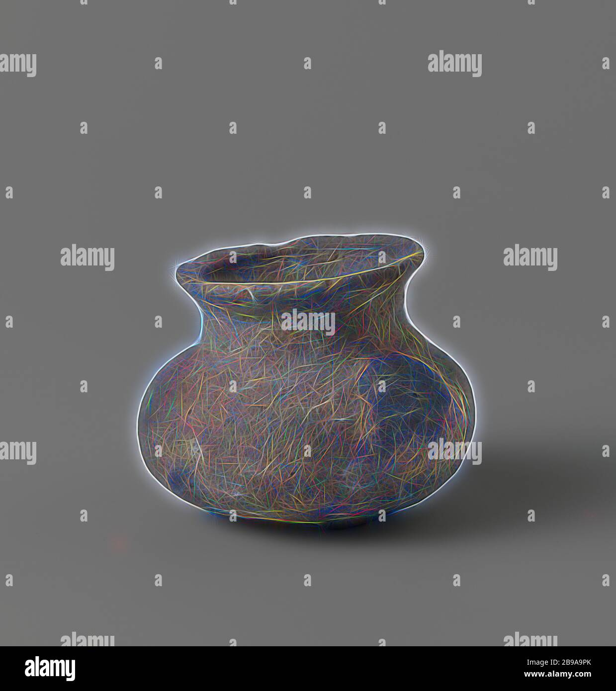 Pot, Pot with a round belly, constricted neck and bulging rim., anonymous, c. 1400 - c. 1950, earthenware, h 8 cm × d 11 cm, Reimagined by Gibon, design of warm cheerful glowing of brightness and light rays radiance. Classic art reinvented with a modern twist. Photography inspired by futurism, embracing dynamic energy of modern technology, movement, speed and revolutionize culture. Stock Photo