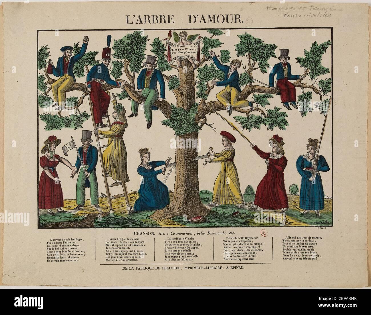 """ALLEGORY; THE TREE OF LOVE Anonyme /chez Pellerin. """"Allégorie; L'arbre d'amour"""".Bois gravé colorié. Paris, musée Carnavalet. Stock Photo"""